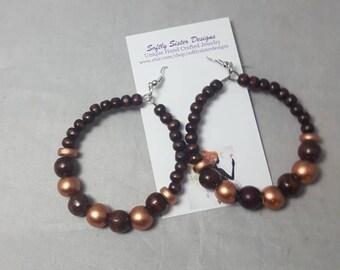 Beaded Hoop Earrings, Tribal, BOHO, African, Ethnic, Hoops, Beads