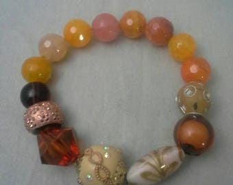 Beaded Bracelet, Stretch Bracelet, Women's Bracelet Gift, Glass Bead Bracelet, Gemstone Bead Bracelet, Agate Beads