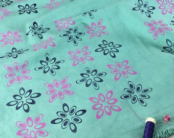 Green cotton fabric heavy weight cotton hand dyed hand printed for making bags purses upholstery fabric table cover place settings material
