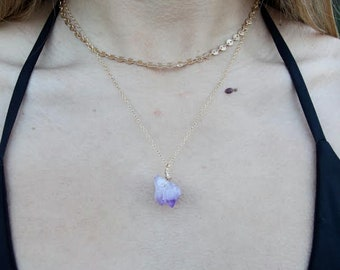 Healing Amethyst Nugget Necklace - One of a kind - 20 inch chain - gold