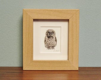 Baby Owl Watercolour Painting - Bird - Framed Giclee print - Nature Art - Picture and gift for the home - Mini Frame - Winter Collection