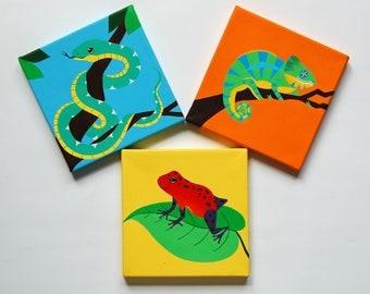 "Reptile and Frog Set, SET OF 3 original paintings, reptile decor, boys bedroom art, Snake, Chameleon, Dart frog,  8"" x 8"" canvas"