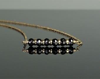 Black Spinel Bar Necklace, Worn on Quantico, Quantico Jewelry, Birthstone Necklace, Dainty Bar Necklace, Spinel Jewelry, Spinel Necklace