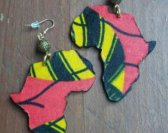 Red and Yellow Tribal Print Africa Earrings, Africa Earrings, Tribal Print Earrings, African Jewelry