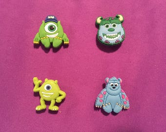 4-pc Monsters University Shoe Charms for Crocs, Silicone Bracelet Charms, Party Favors, Jibbitz