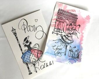 Post card Paris aquarelle
