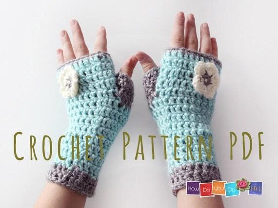 Crochet Mitten Pattern Beginners : Fingerless Mittens For Kids PDF Crochet Pattern Gloves for