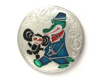 Cheburashka and Crocodile Gena, Character from soviet cartoon, Vintage collectible badge, Soviet Vintage Pin, Vintage Badge, Made in USSR