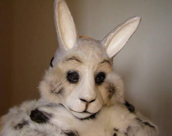 Masquerade mask Rabbit mask Hare mask Bunny mask Paper mache mask Animal mask Rabbit costume Face mask