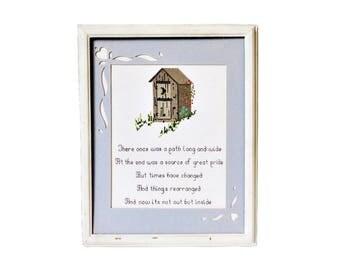Bathroom Cross Stitch, Cross Stitch Poem, Farmhouse Bathroom Decor, Shabby Chic Wall Decor, Lavatory Wall Art