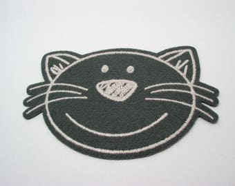 Great application fusible fabric pattern grey felt cat