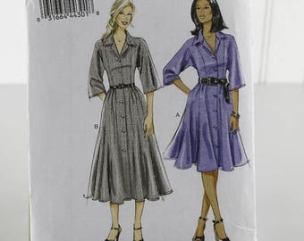 Dolman Sleeve Shirt Waist Dress Sewing Pattern, Uncut Sewing Pattern, Vogue V8587, Size 8-16