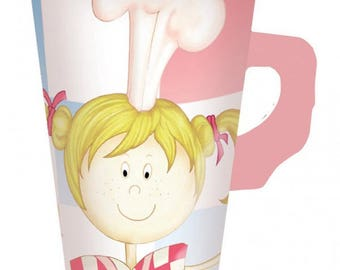8 cups with Little Cooks hanses