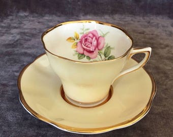 Vintage Clare tea cup w pink rose and pale yellow teacup