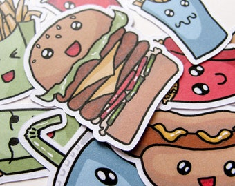 Fast Food Stickers, Burger, Fries, Hot Dog, Journaling, Sticker Flakes, Stationery, Scrapbooking, Paper Stickers, Cute Food