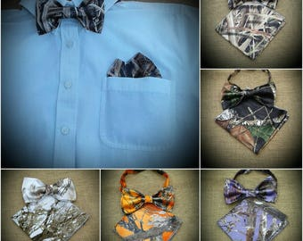 Pocket squares and bowtie set. 22 camo colors to choose from boys & Men set