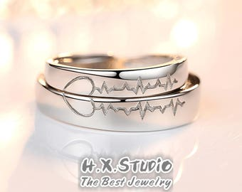 His And Hers Heart Beat Matching Rings Men Women Silver Couple