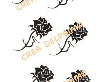 Six black roses FLEUR6 plank stikers