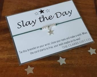 Feminist - Feminist Bracelet - Slay the Day - Wish bracelet - Empowering Gift - Girl Boss - Empowering Jewelry
