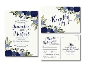 Vintage Wedding Invitation & RSVP Postcard Set, Fall Wedding, Vintage Floral, Floral Wedding, Vintage Wedding, Wedding Set #CL249