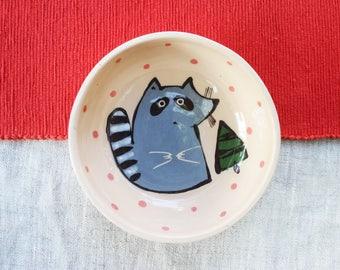 Cute Racoon Bowl Handmade Ceramic Bowl Beige Bowl Pottery Bowl Small Ceramic Bowl Pattern Racoon Print Breakfast Bowl Child Bowl