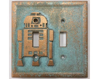 R2D2 Double Light Switch Cover - Aged Copper/Patina or Stone