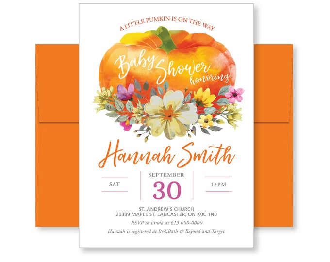 Little Pumpkin Baby Shower Invitation, Printable, Fall Baby Shower Invitation, Watercolour, pumpkin, flowers, invite