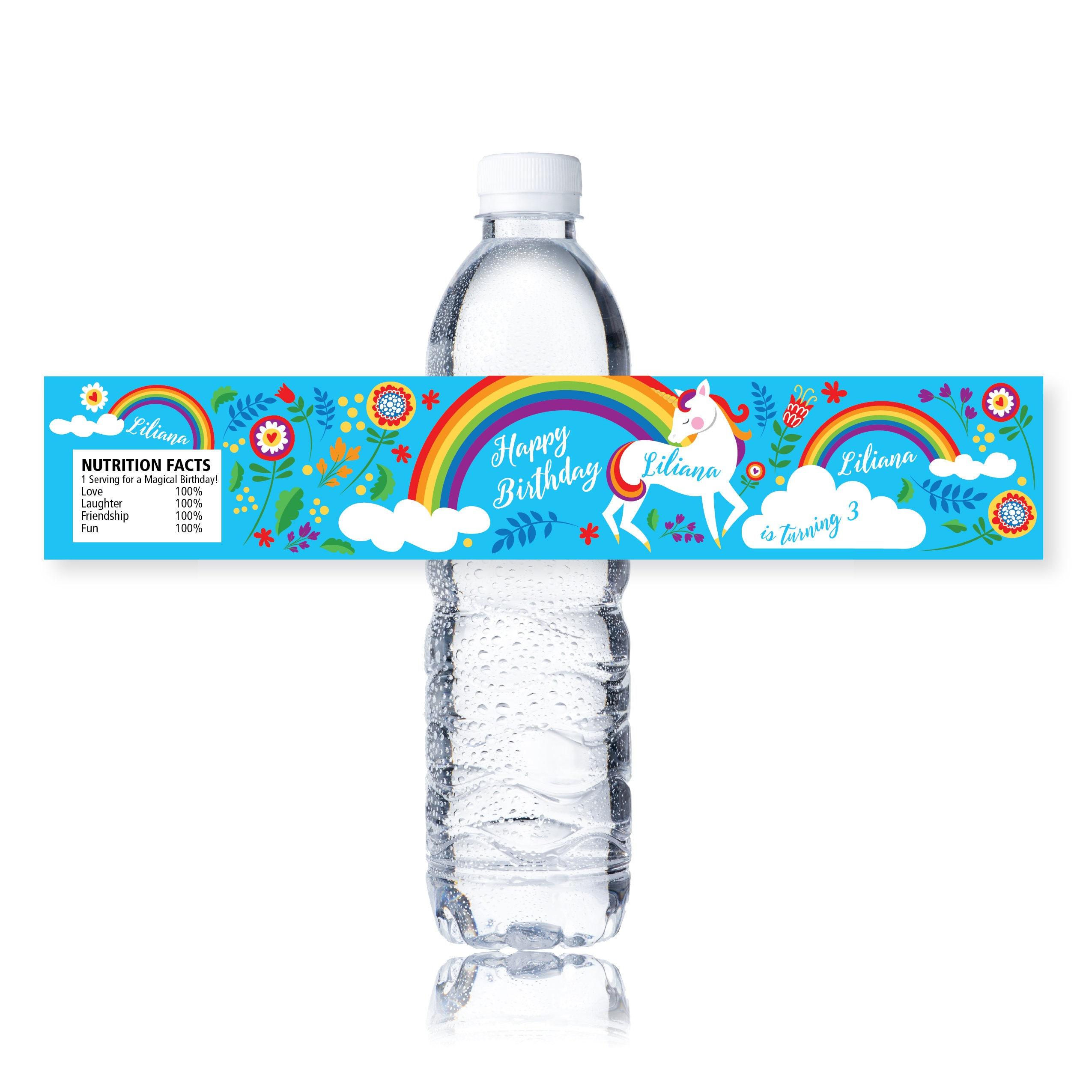 Rainbow Unicorn Water Bottle Label, Customized Printable ...