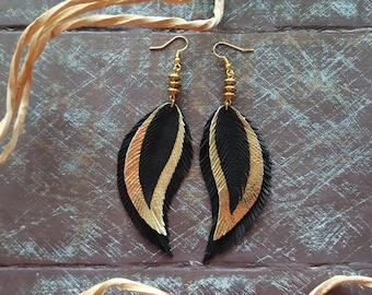 Gold Feather Earrings. Statement Earrings. Boho Earrings. Bohemian Earrings. Leather Feather Earrings. Long Black Earrings. Boho chic.