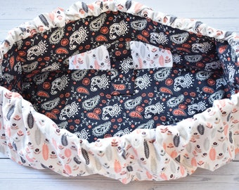 Paisley & feathers Child shopping cart cover, Baby shower gift, Grocery cart cover,navy , coral.