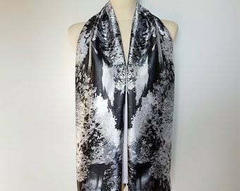 Black and White Satin Scarf Black Scarf Women Gray Scarves for Women Spring Scarf Floral Inspirational Women Gift Mom from Daughter from Son
