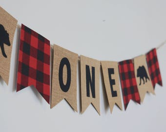 Lumberjack First Birthday ONE Banner Decor/ Photo Prop