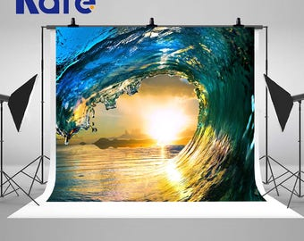 Sunset Surfing Colored Ocean Wave Falling Down Photography Backdrops No Wrinkles Photo Backgrounds for Romatic Wedding Studio Props
