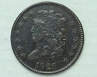 1828 US Half Cent; 13 Stars; High Grade