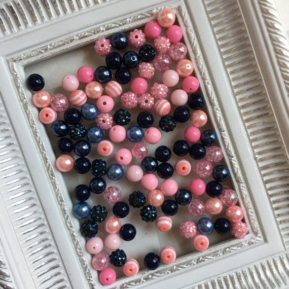 """12mm  """"Navy & Light Pink""""  {100 count}  Chunky Bubble Gum Bead Wholesale Bulk Bead Lot for Necklaces or Bracelets"""