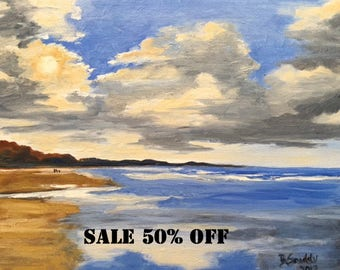 Ocean beach oil painting of California coast at sunrise with clouds