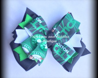 Boston Celtics Double Stacked Bow 3""