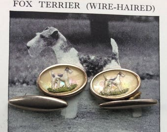Vintage Intaglio/ Essex Crystal Terrier CuffLinks