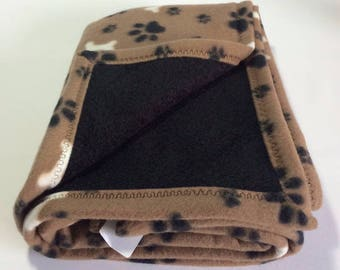 PET BLANKETS - Plush Fleece & Terry Reversible - Tan with Black Paws and White Bones, Black Terry - 2 Sizes available
