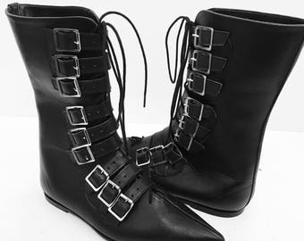Original Pikes-9 Buckles/Laces Boots