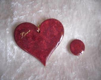 heart pendant, Valentine, carmine red / gold, message of love, handmade.