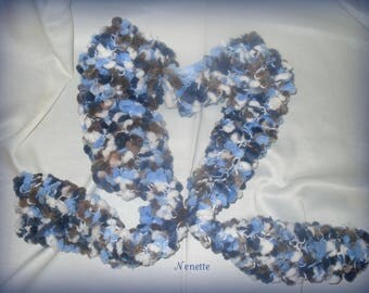fancy blue/Brown wool scarf
