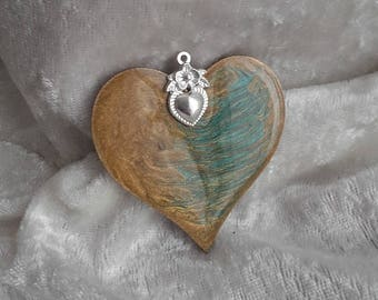 fancy heart sand gold turquoise silver, wood, resin and metal pendant