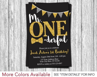 Mr. ONEderful Birthday Invitation | Mr One-derful First Birthday Invitations | Black and Gold