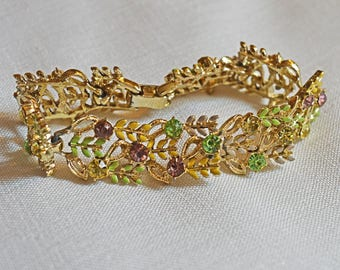 Vintage Bracelet - Gold Tone Metal, Enamel Green & Yellow Leaves with Rhinestones