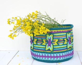 PATTERN - Indian Star Basket - overlay crochet - crochet pillow, pouch - instant download
