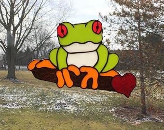 Stained Glass Tree Frog Suncatcher - Red Eye Tree Frog