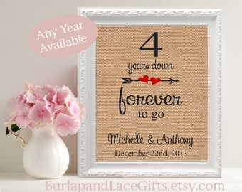 4th Anniversary, Gift for Wife, burlap print, 4 years, 4 year wedding anniversary, 4th anniversary gift, forever to go, personalized (208)