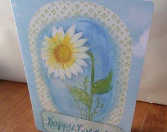 Floral Happy 21cm x 15cm hand made Birthday card