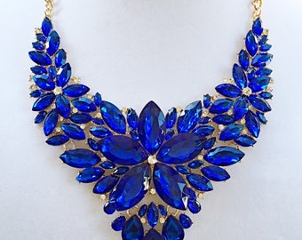 Royal Blue  Bib Necklace / Gold Chain Royal Blue  Statement Necklace.